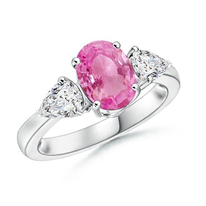 Angara Diamond Three Stone Ring with Pink Sapphires in Platinum tKeRrW