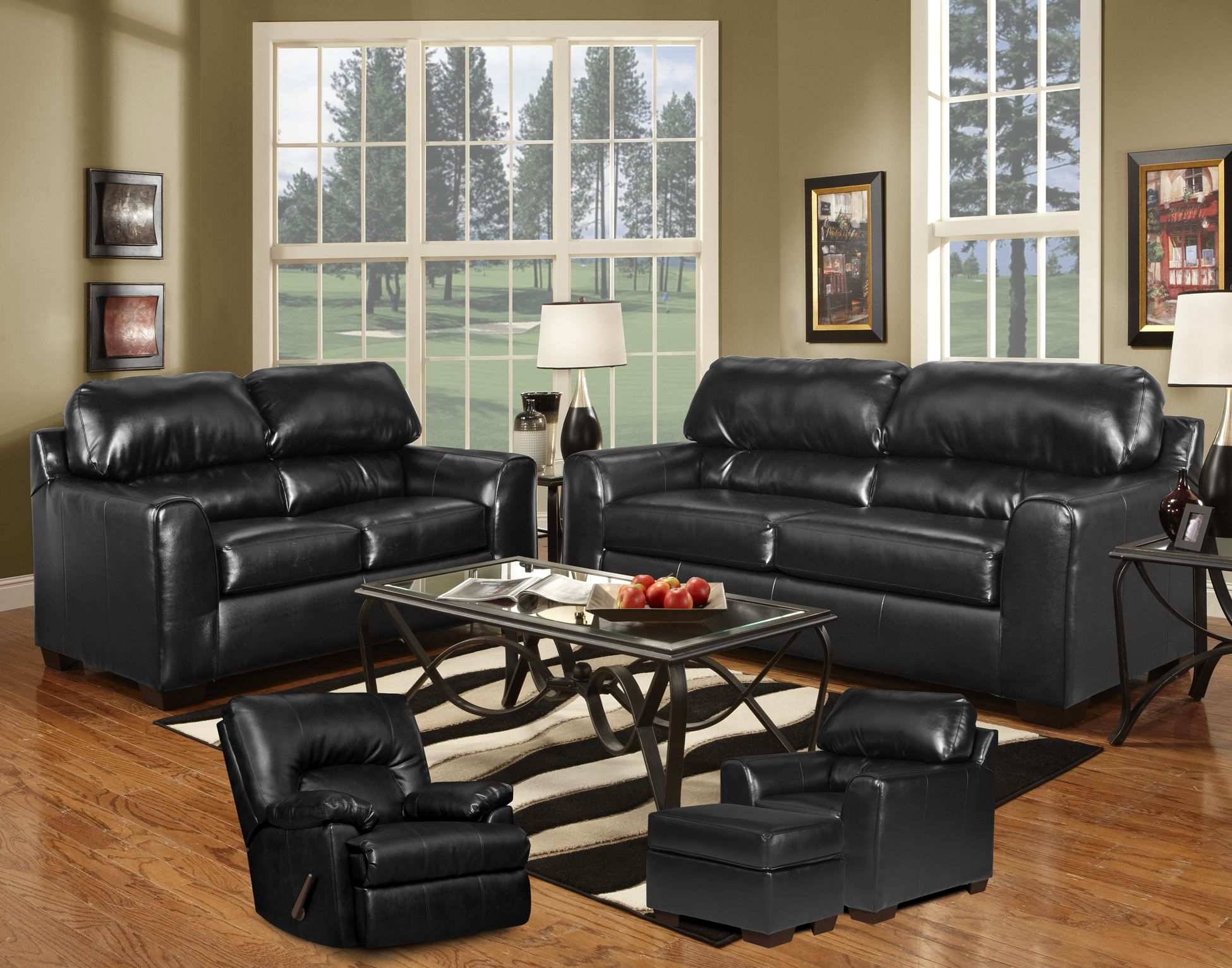 Stupendous Simmons Firenza Black Bonded Leather Sofa Loveseat Frankydiablos Diy Chair Ideas Frankydiabloscom