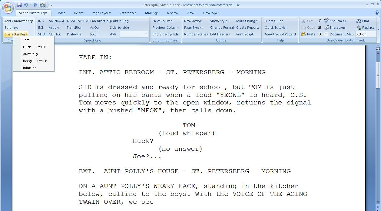 Script Wizard Software Scriptwizard Screenplay Formatting Inside