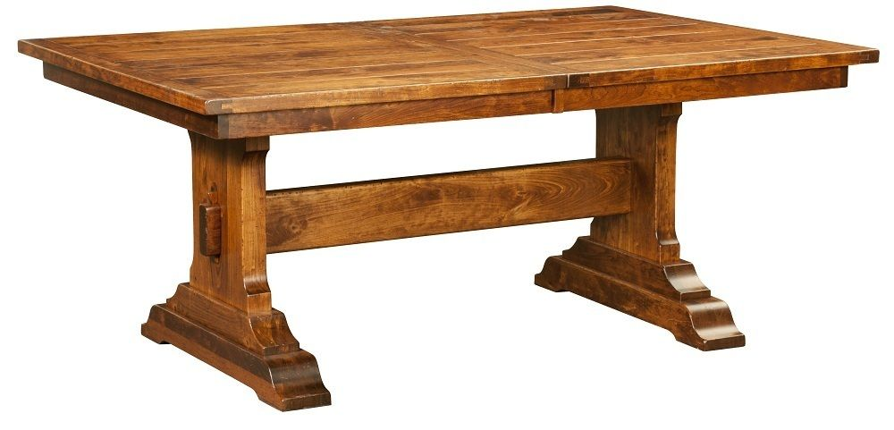 Amish Rustic Trestle Dining Table Bench Rectangle Extending Solid