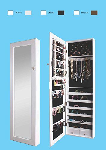 Btexpert Premium Wooden Jewelry Armoire Cabinet Wall Mount Over