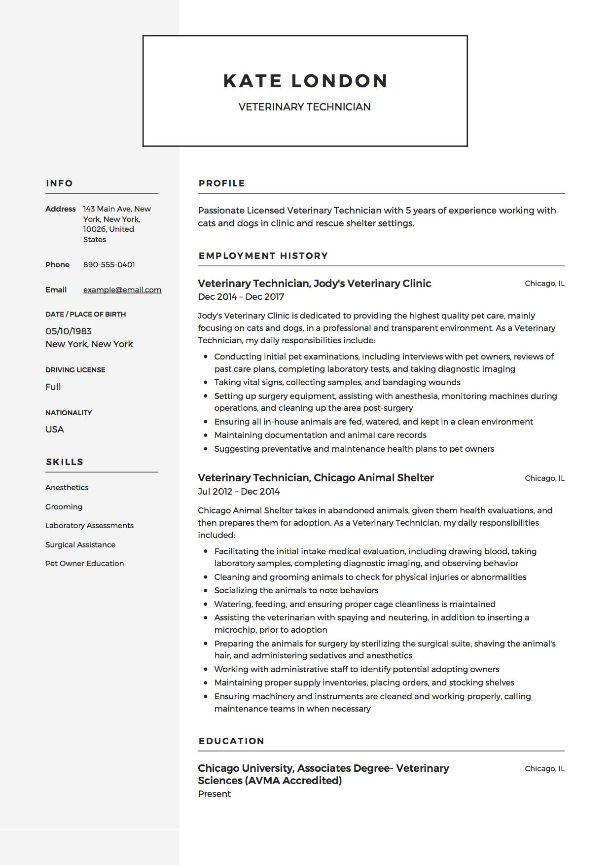 Veterinary Technician Resume Example Medical Assistant Resume Vet Tech Student Veterinary Technician