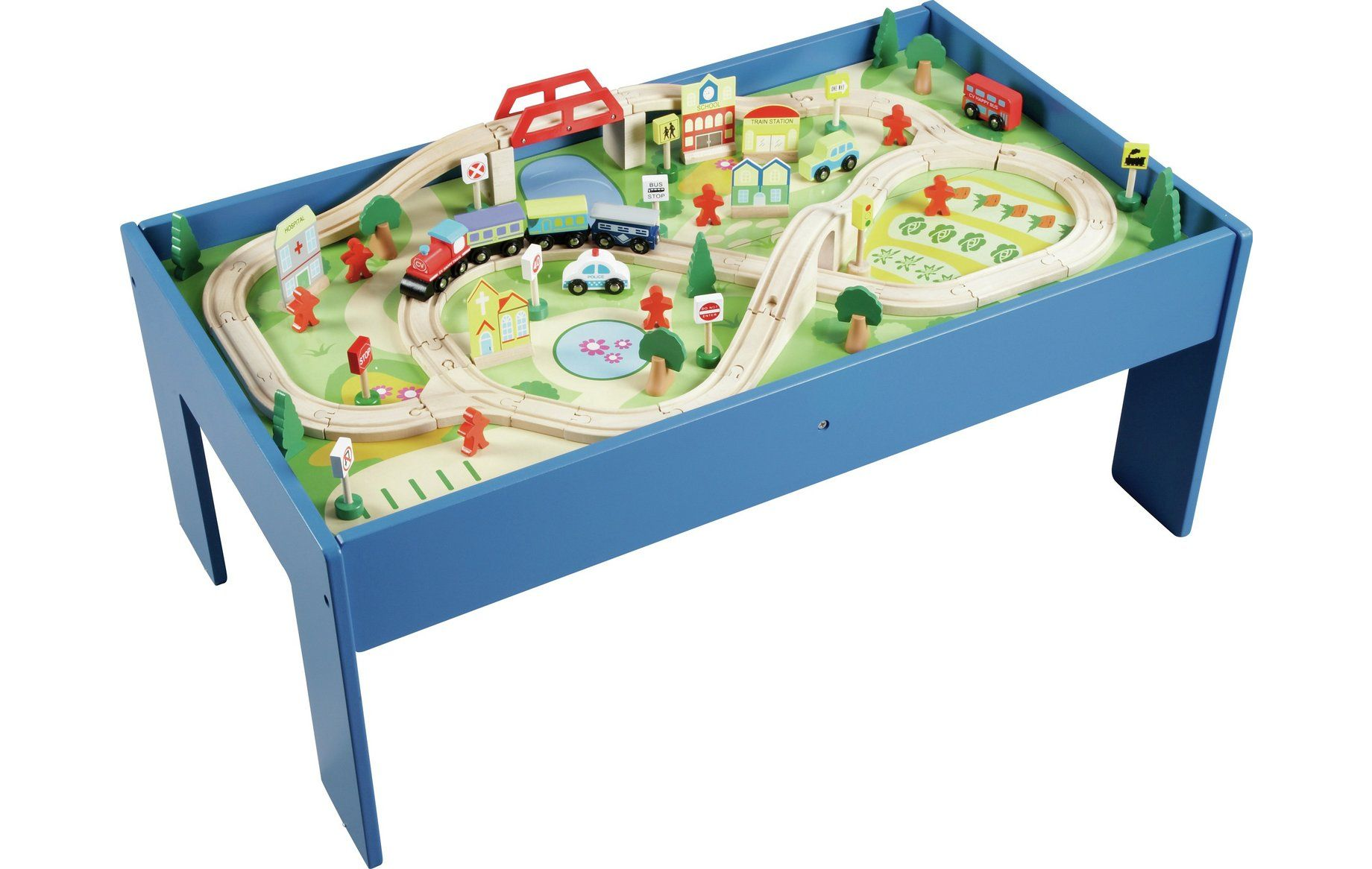 Chad Valley Wooden Table And 90 Piece Train Set At Argos Co Uk