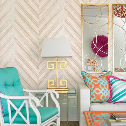 Chevron Lines Orange Peel U0026 Stick Fabric Wallpaper Repositionable   Simple  Shapes Wall Decals, Furniture