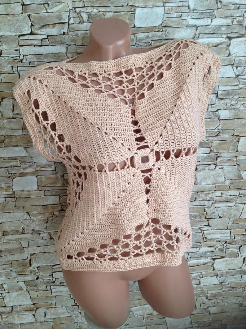 Crochet granny square top  vest Boho chic Summer festival clothing for women