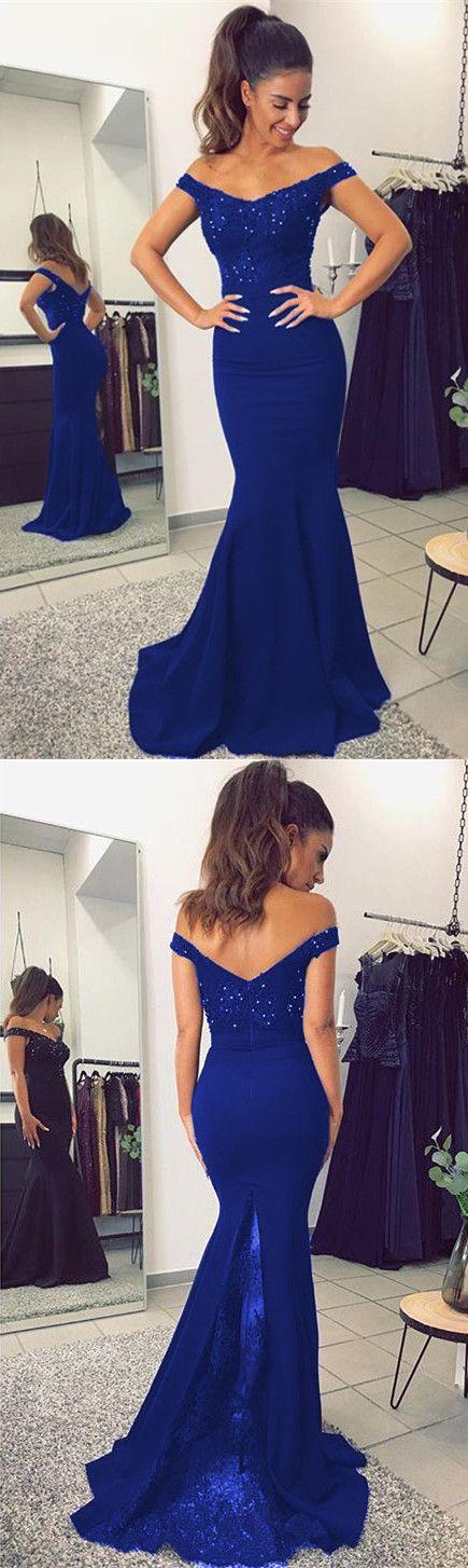 cee9013a1a Mermaid V-neck Off Shoulder Bridesmaid Dresses Lace Appliques | Prom ...