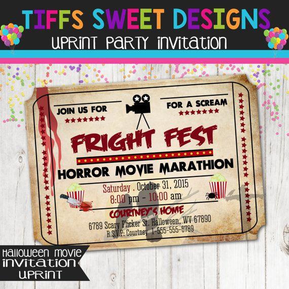 Printable Halloween Movie Night Ticket Invitation – Movie Night Invitations Free Printable