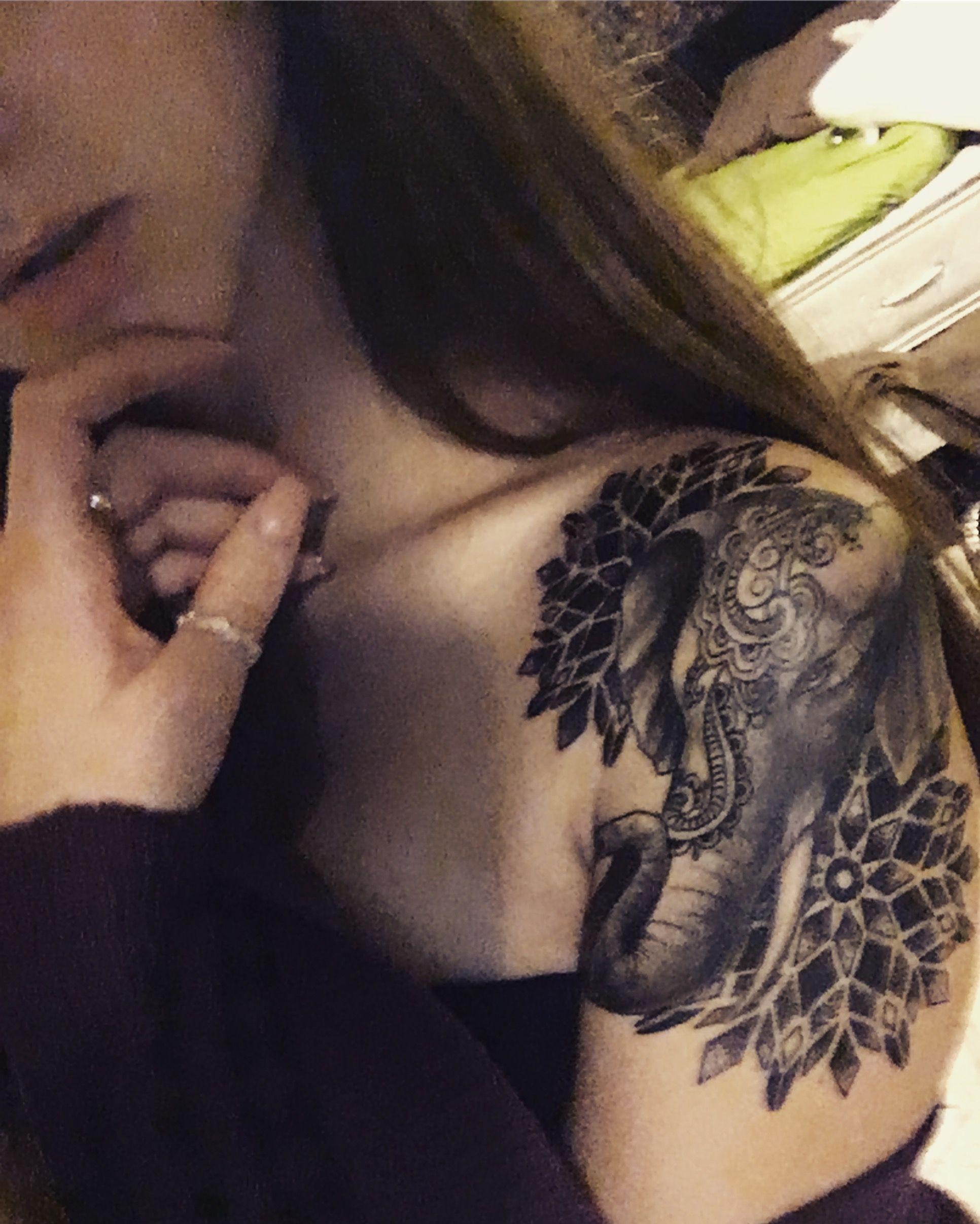 53 Top Mandala Tattoos Of All Time: Mandala And Elephant Tattoo
