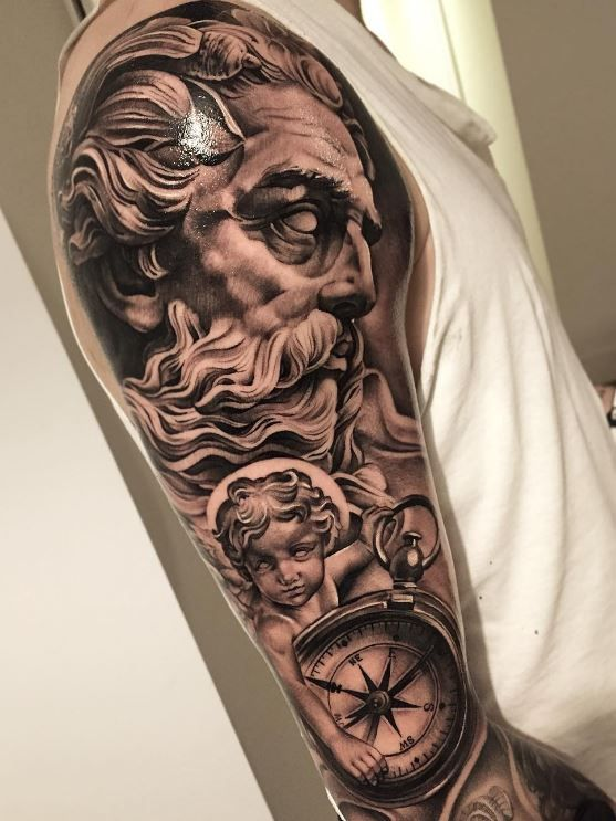 Black And Gray Zeus Sleeve Tattoo Inkstylemag Zeus Tattoo Arm Sleeve Tattoos Greek Tattoos