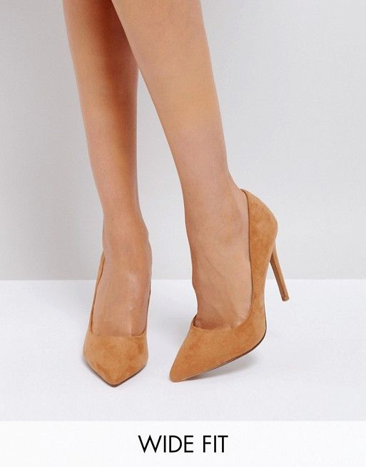 9673a38c4b4 DESIGN Wide Fit Paris pointed high heeled pumps in caramel