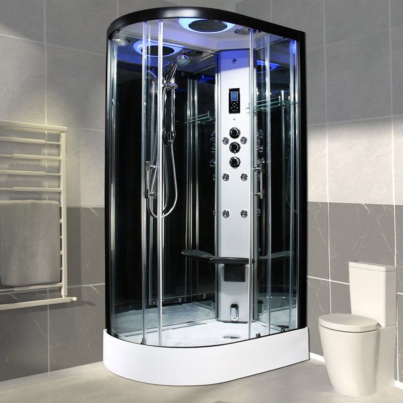 Insignia Premium Black Framed Offset Quadrant Right Handed Steam Shower Cabin Shower Cabin Steam Shower Cabin Steam Showers