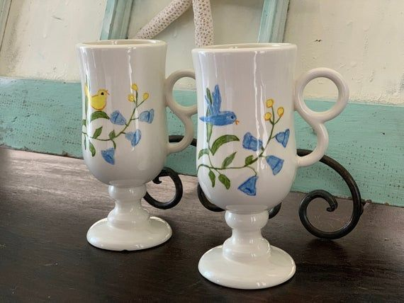Coffee Mugs, Pair of Hand Painted, Glazed Ceramic Coffee Mugs, Display Dishes, Vintage 1970s Ceramic Coffee Mugs, Blue Bells with Birds #mugdisplay