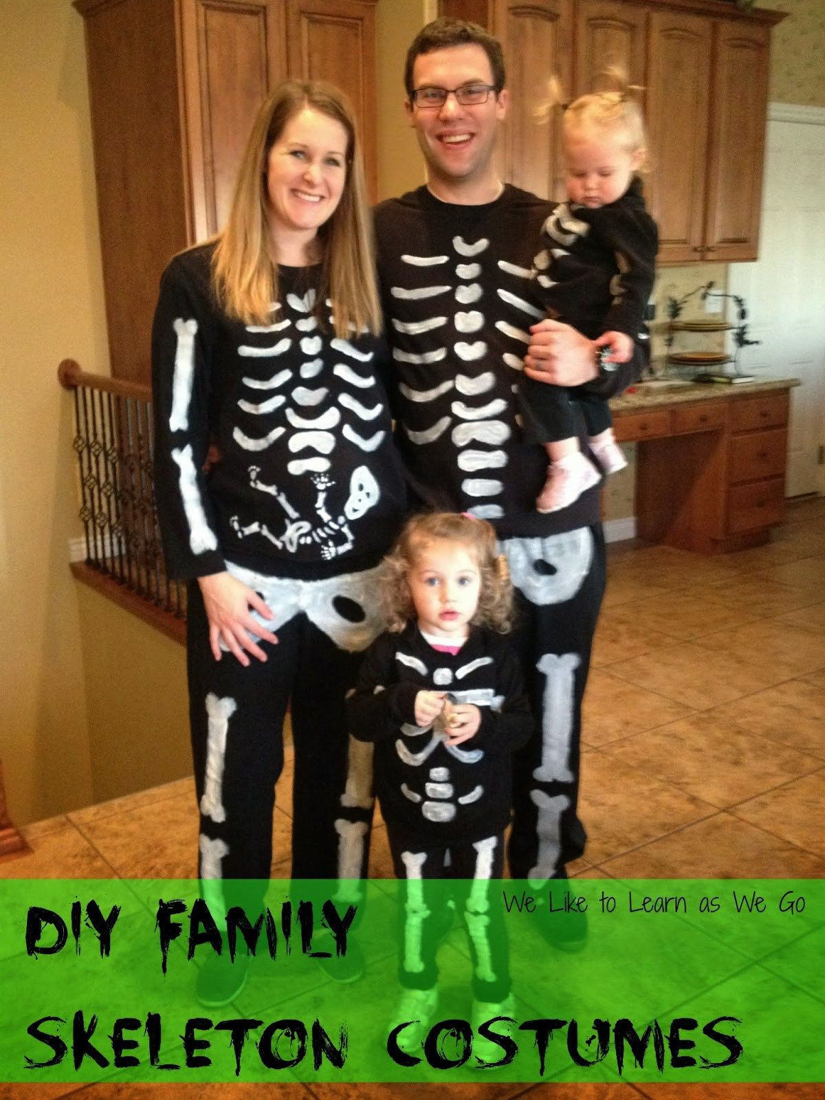 Weu0027ve been doing themed family Halloween costumes the last few years. Alan thinks this may be our last one since our girls will probably start getting more ...  sc 1 st  Pinterest & Easy DIY Skeleton Family Costumes | Pinterest | Family halloween ...