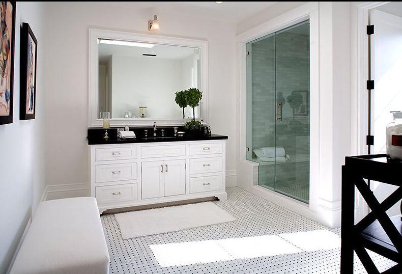White Bathroom Cabinets With Dark Countertops