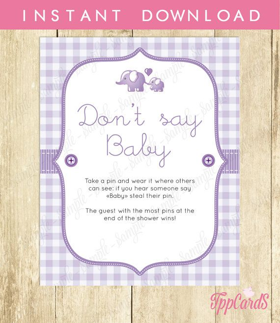 Baby Shower Clothes Pin Game Fair Don't Say Baby Game Baby Shower Games Printable Elephant Don't Say Design Ideas