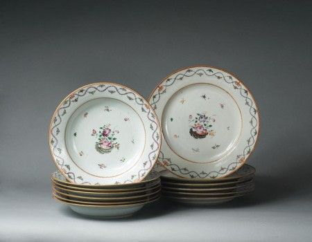 These are Chinese export ca. 1785-1805 but look so much like a famous Limoges, France pattern!  Interesting to learn the origin of some of these designs.