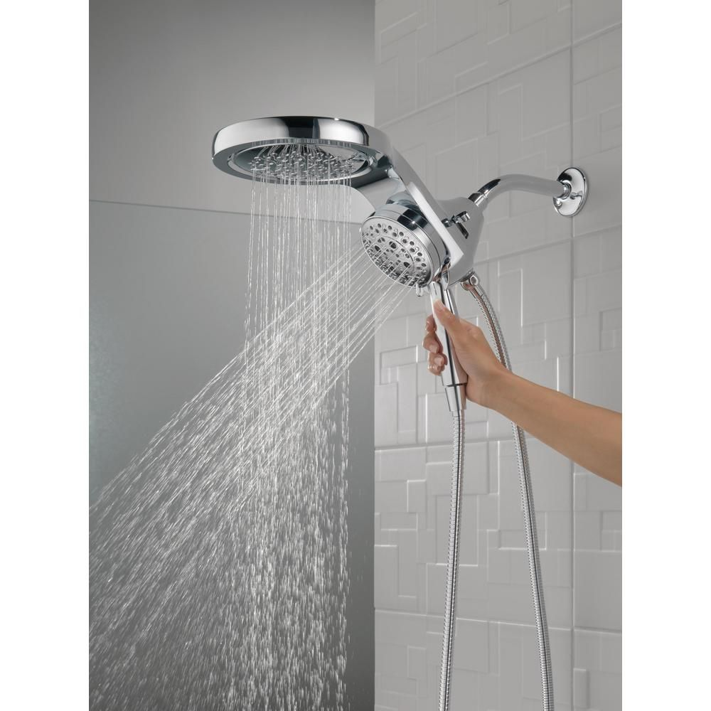 Delta Hydrorain Two In One 5 Spray 6 In Dual Wall Mount Fixed And