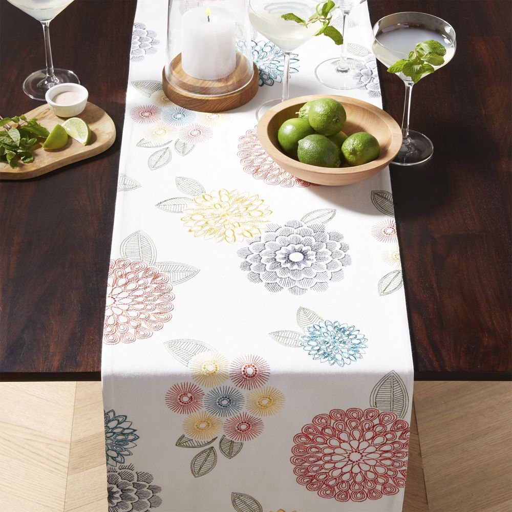 Lyla 120 Embroidered Table Runner Products Table