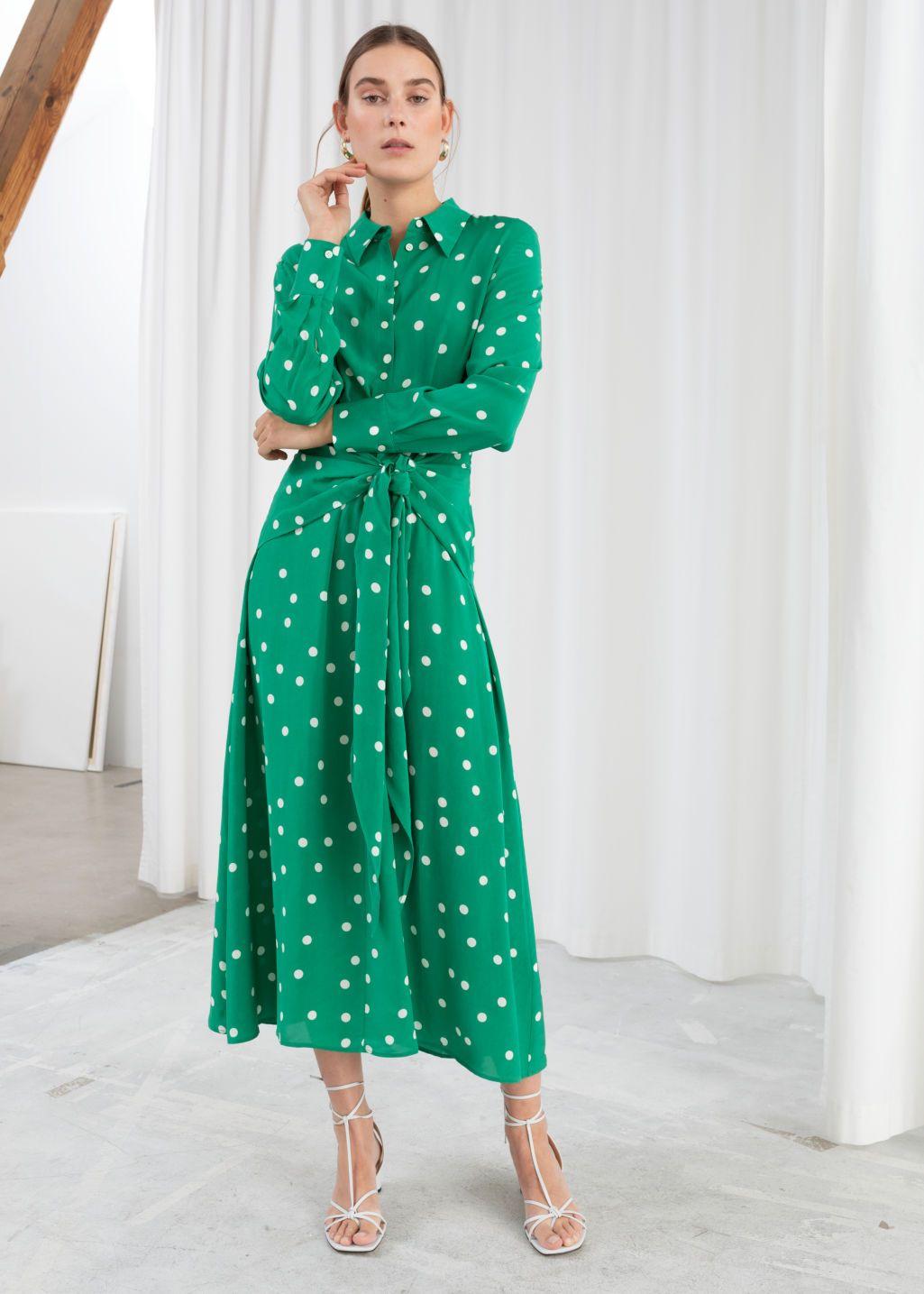 Polka Dot Waist Tie Midi Dress Polka Dot Printed dresses