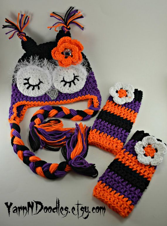 Crochet Halloween Sleepy Owl Earflap Beanie Hat Leggings