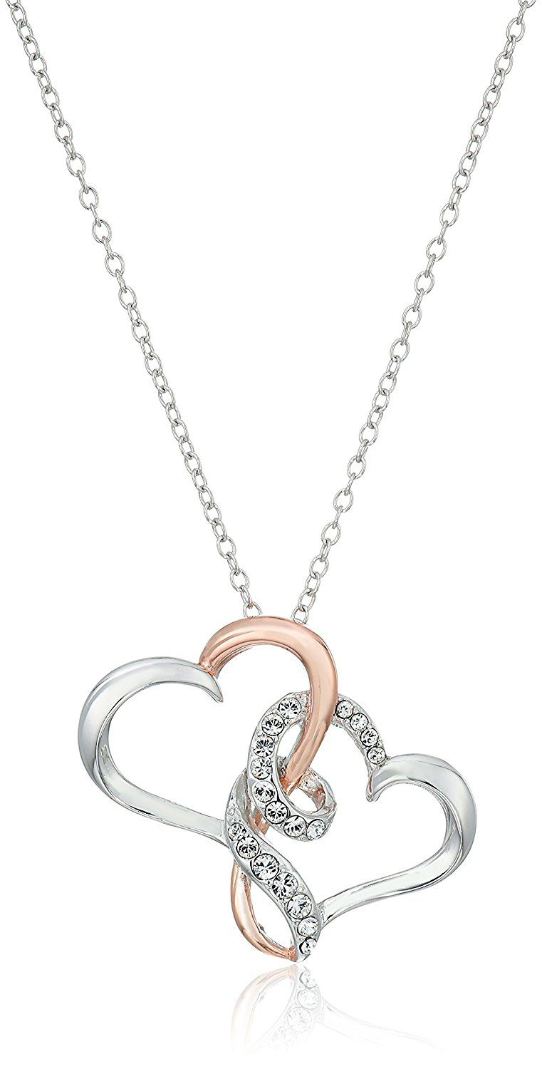 258b889be71 Rhodium, Rose Gold Plated Sterling Silver White Swarovski Crystal Swirly  Double Open Hearts Pendant Necklace