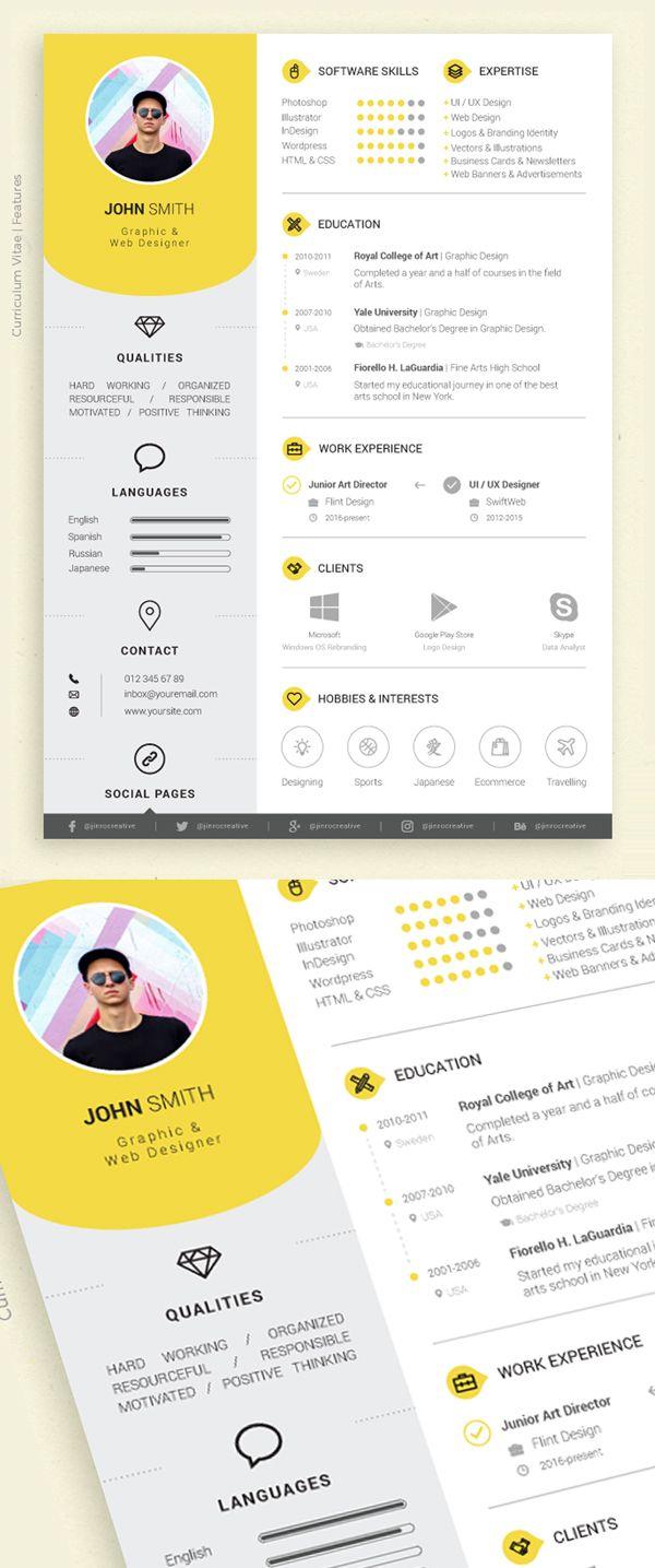 Fresh Free Professional Cv Resume Templates Freebies Graphic Design Junction Cv Kreatif Desain Resume Desain Cv