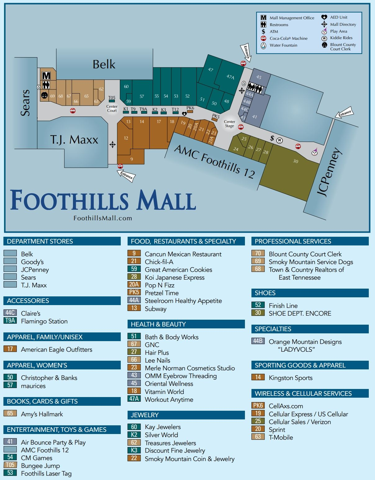 Foothills Mall Shopping Plan Mall Foothills Maryville