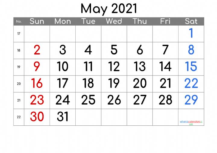 Free Printable Calendar 2021 May Free Premium In 2020 2021 Calendar Printable Calendar Printable Calendar Numbers