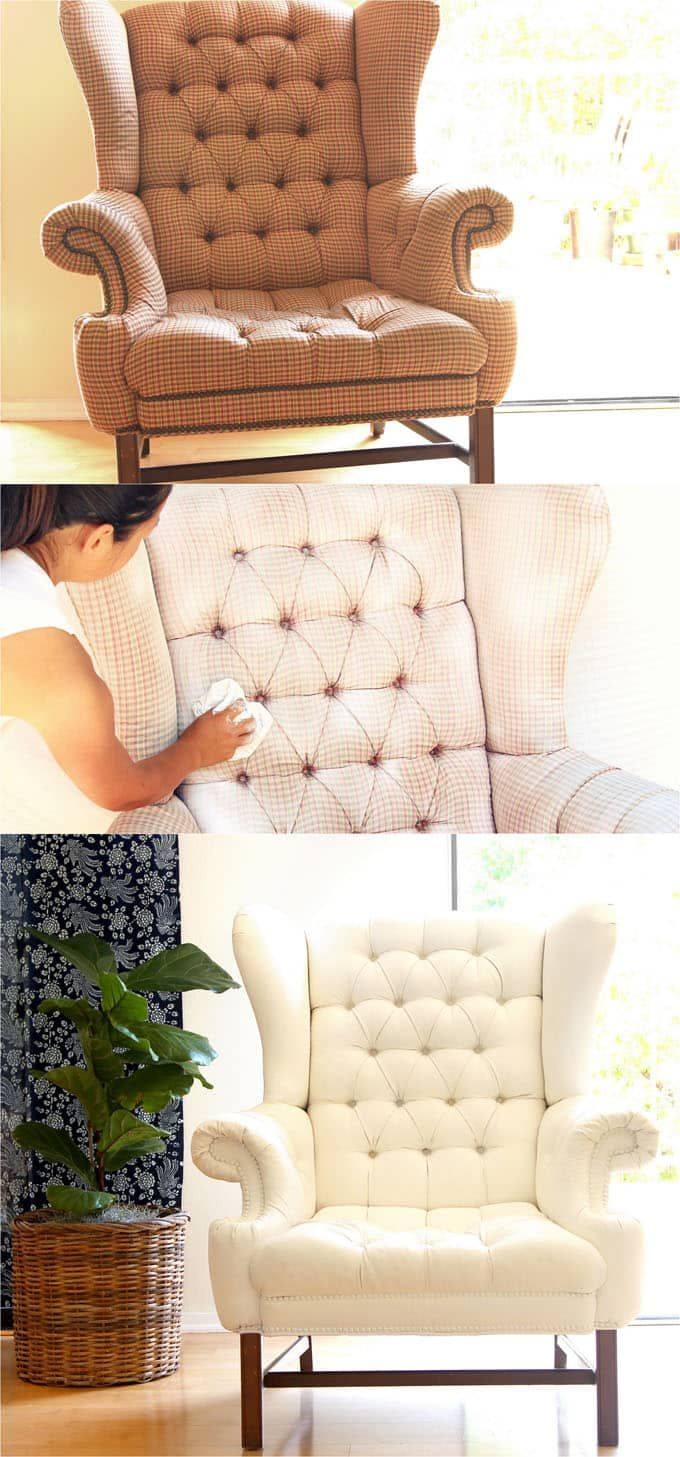 How To Paint Upholstery Old Fabric Chair Gets Beautiful New Life Painting Fabric Furniture Paint Upholstery Furniture Fabric