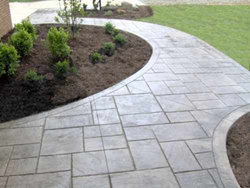 Pin By Dana Macdonald On Walkway Landscaping Concrete Patio Designs Stamped Concrete Walkway Concrete Walkway