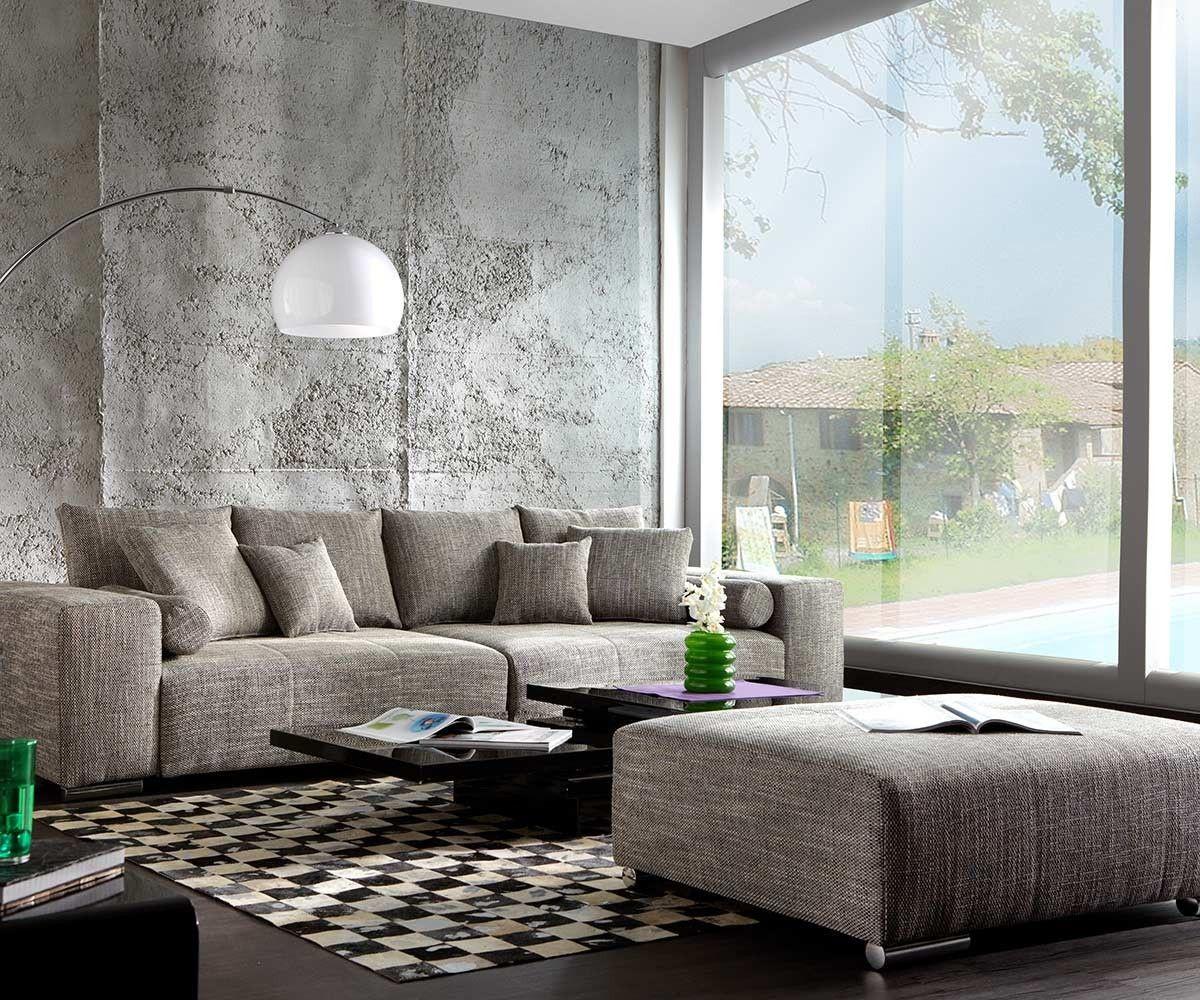 big sofa marbeya 285x115 hellgrau couch mit hocker in 2019. Black Bedroom Furniture Sets. Home Design Ideas