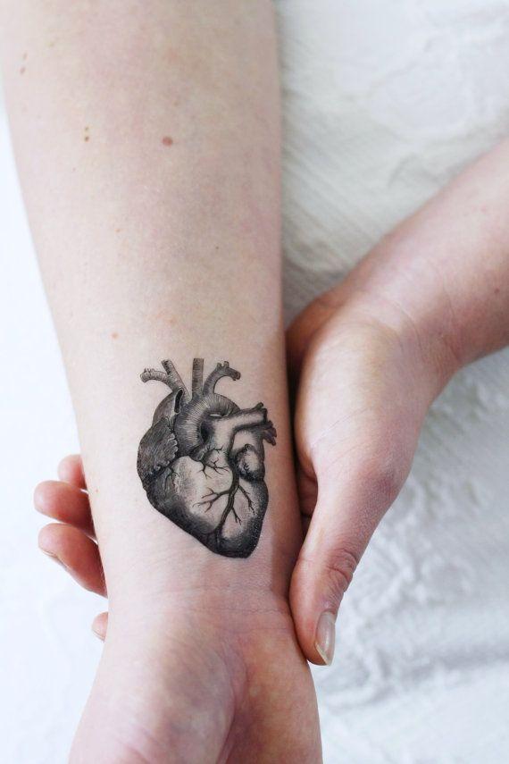 Menselijk hart tatouage/Vintage tijdelijke tattoo/hart | Etsy