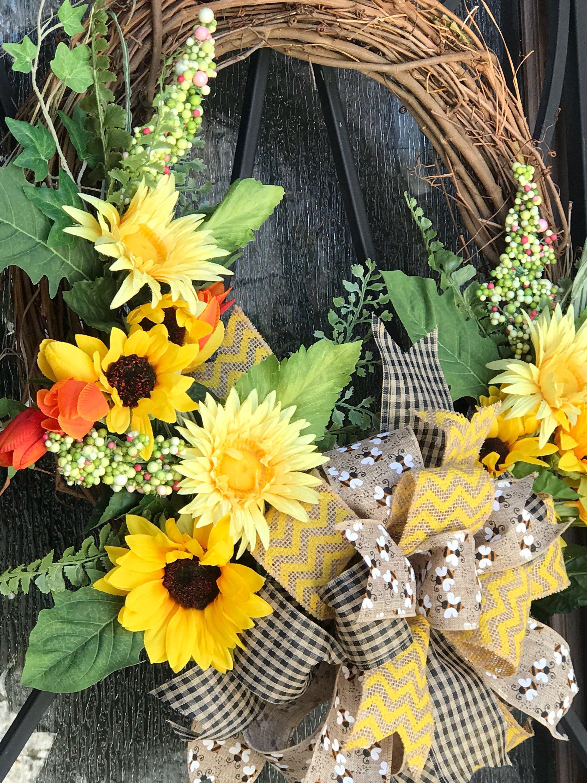 Sunflower Wreath Grapevine Wreath Sunflower Door Hanger Front
