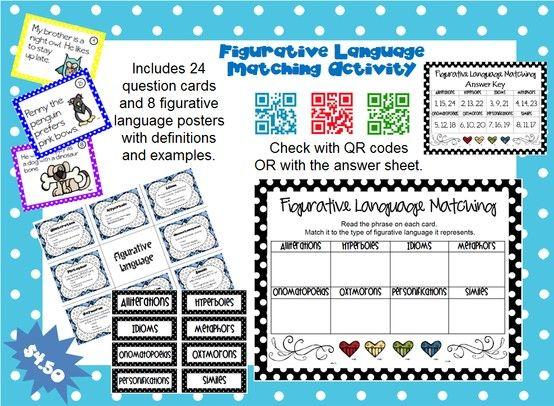 Figurative Language Matching Activity Pack Figurative Language