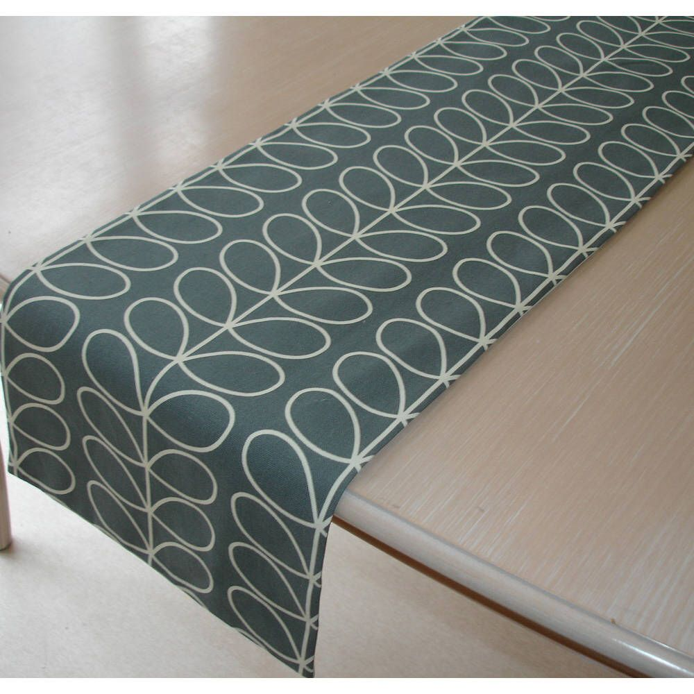 Small Coffee Table Runner 36 Orla Kiely Linear Stem Cool Grey 3ft Gray And Cream 90cm Retro Tableware Line Small Coffee Table Coffee Table Runner Coffee Table