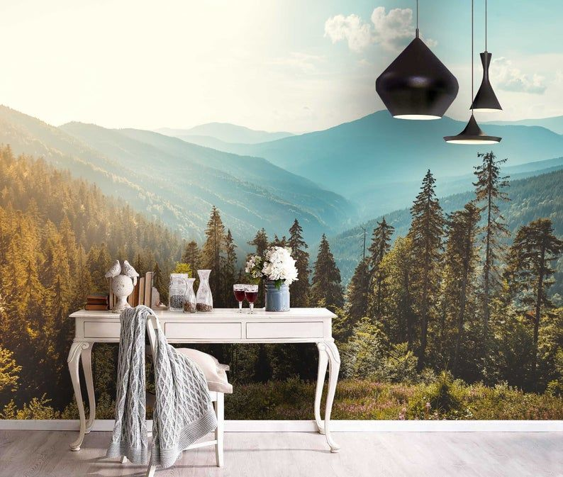 3d Pine Tree Mountain Scenery Wallpaper Removable Self Adhesive Wallpaper Wall Mural Vintage Art Peel And Stick Mural Wallpaper Wall Murals Scenery Wallpaper