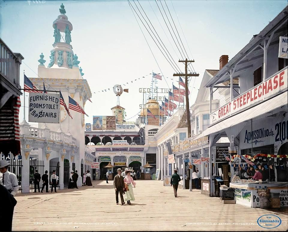 Coney Island, New York, 1903 (colorized)