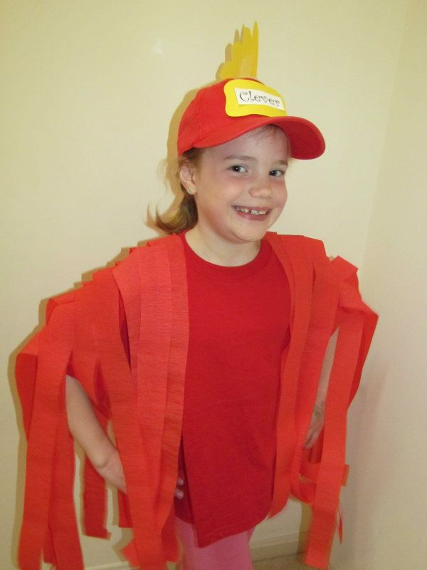 Easy Costumes Hen Black Shirt And Pants Think Baseball Hat With A Red Or Orange