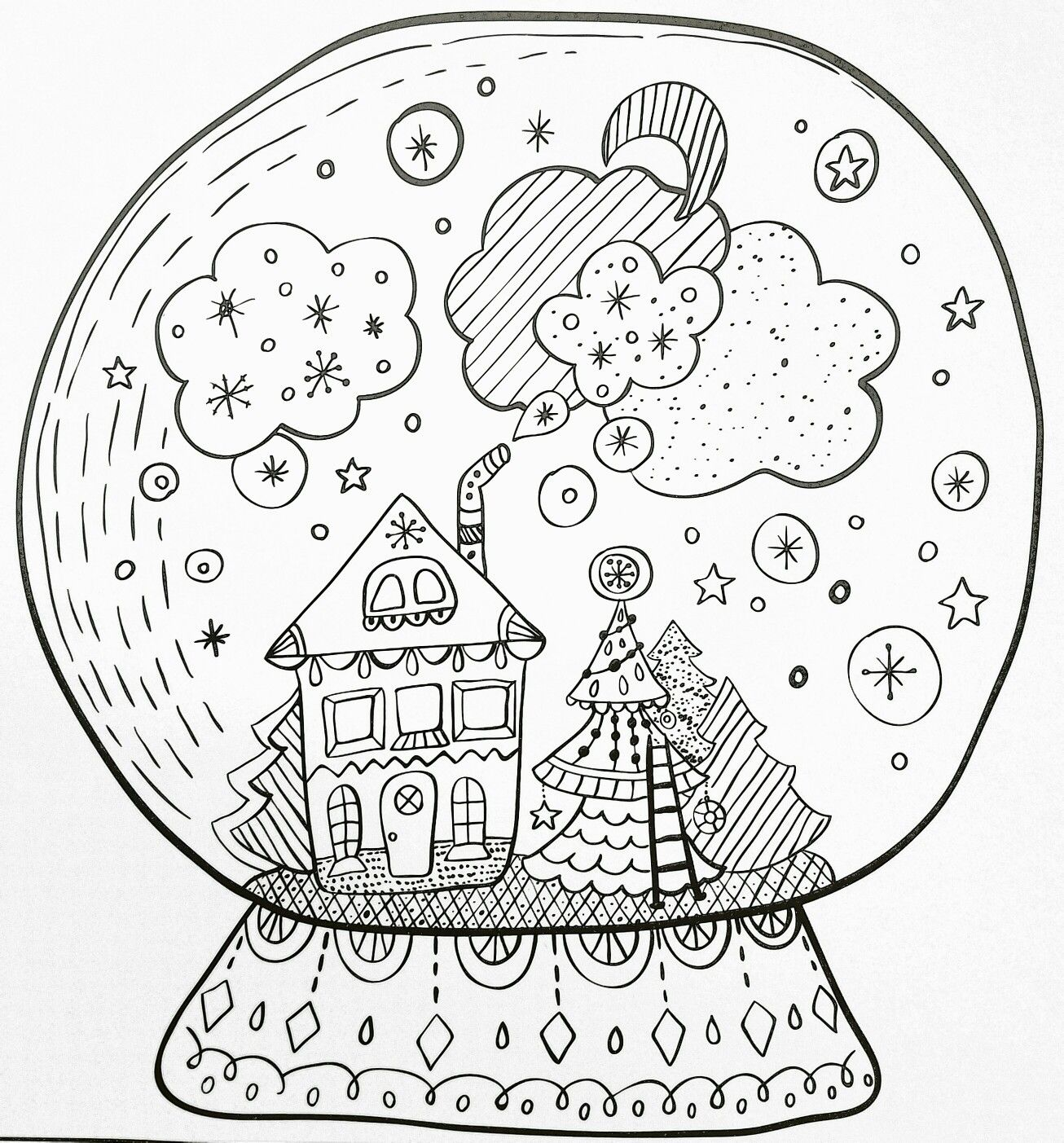 holiday adult coloring page | christmas snowglobe | winter fun | 1st