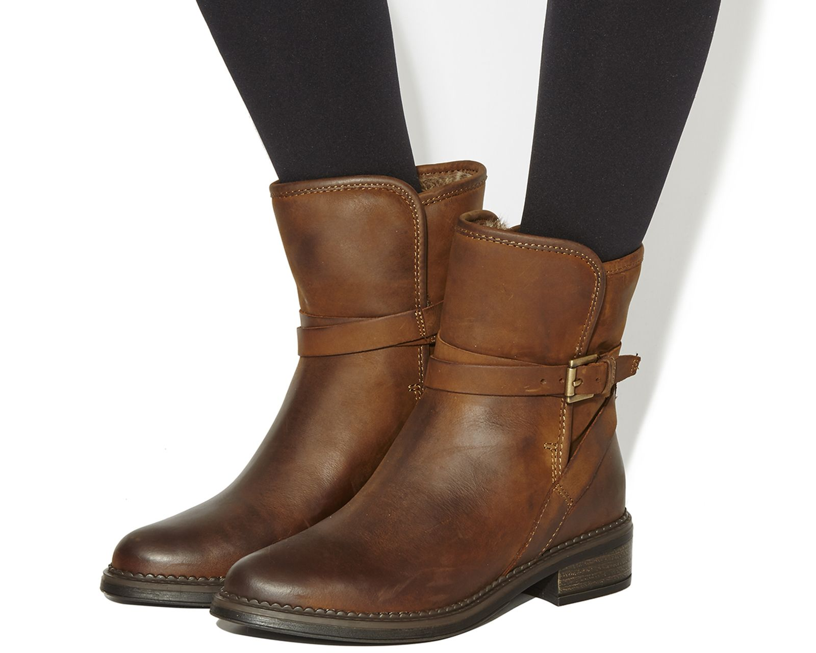 Office Isolate Fur Lined Biker Boots Brown Leather - Ankle Boots