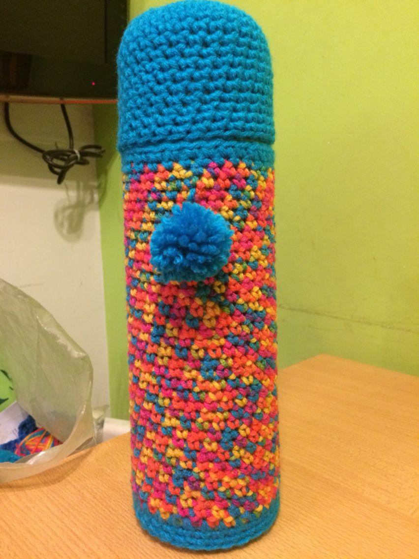 Protector de termo al crochet para Debora!   cubre mate y termos ...