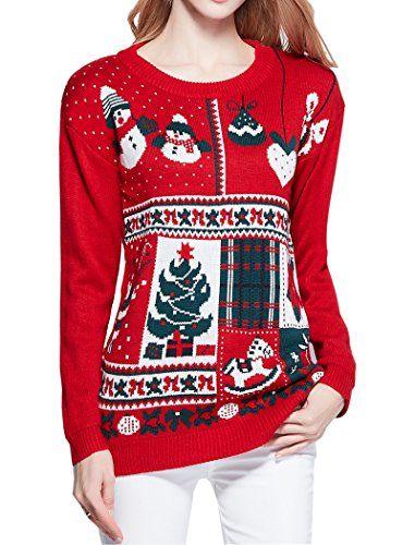 Women Christmas Sweater, V28 Ugly Cute Vintage Knit Xmas Vest