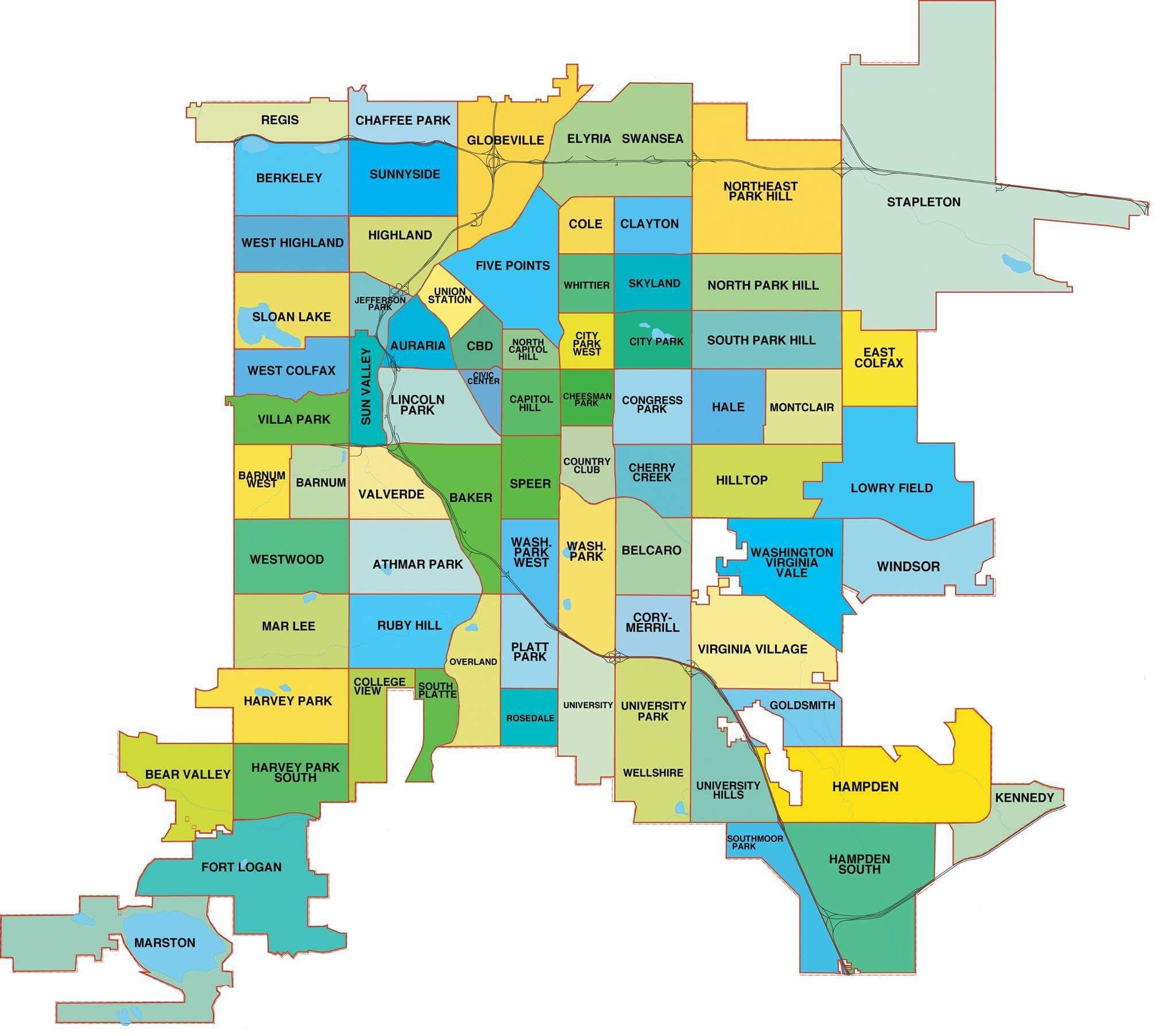 Denver Neighborhoods Map Denver Registered Neighborhood Organization map | Map | Denver