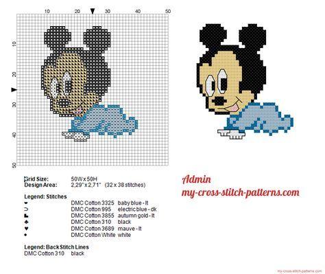 Disney Baby Topolino Grandi 40x40 Schema Punto Croce Punto