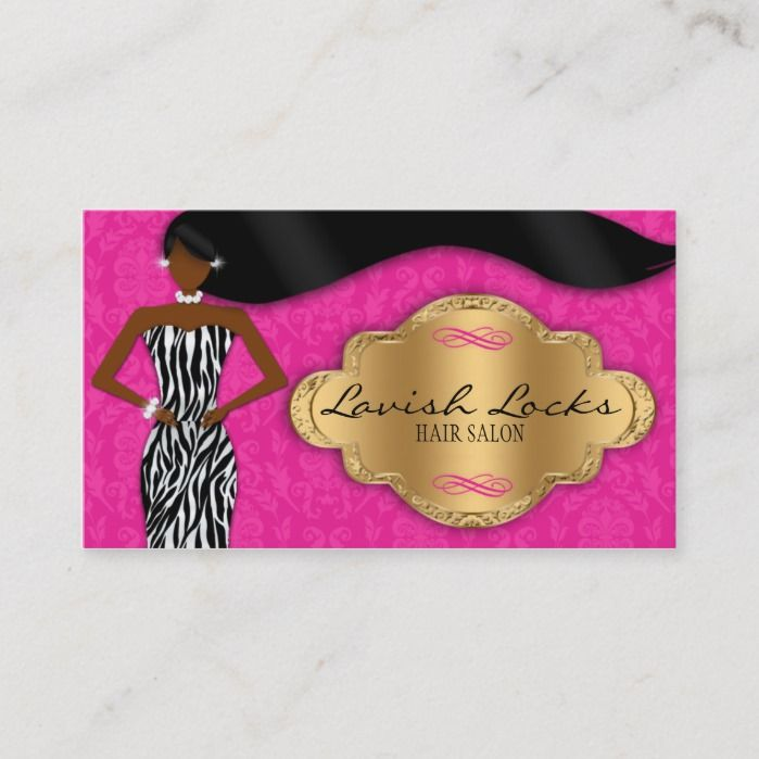 African American Hair Stylist Pink Gold Zebra Business Card #africanamericanhair
