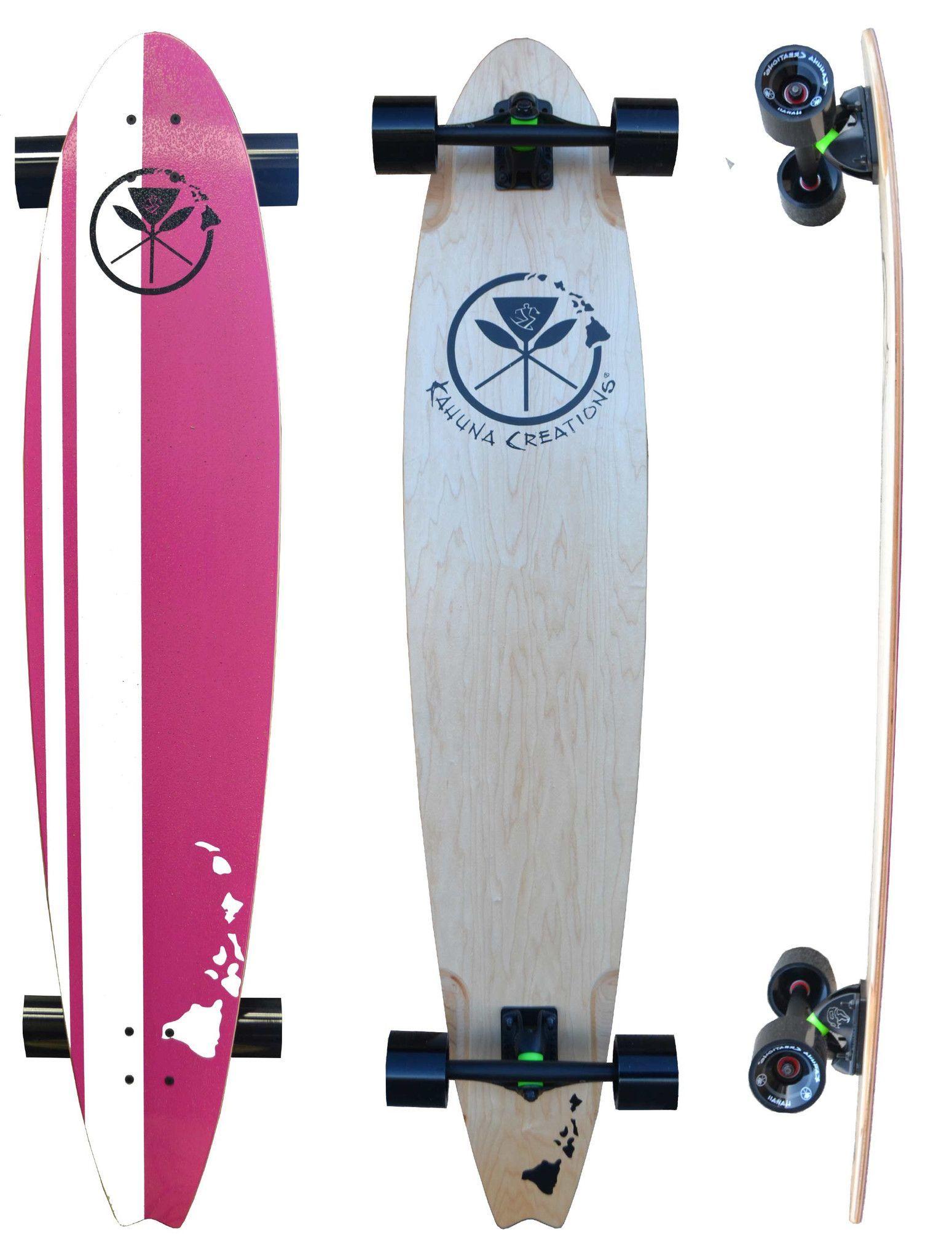 "Retro Pink 48"" Beach Longboard Complete - New Hawaiian Island Design"
