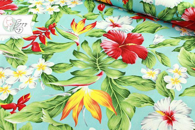 Wunderschöner glatt gewebter Baumwollstoff mit Blütenprint original ...