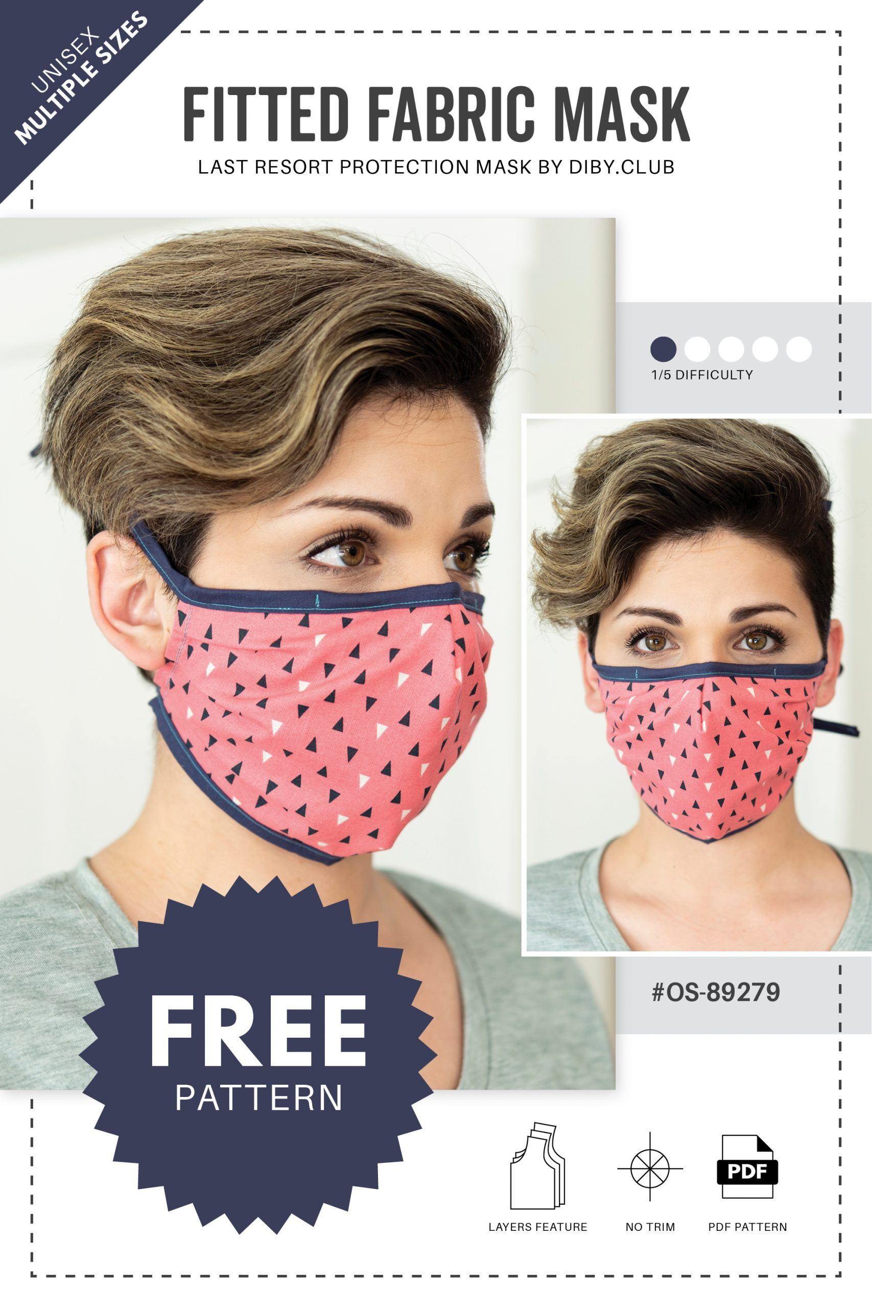 Fitted Face Mask FREE PDF Sewing Pattern DIBY Club in