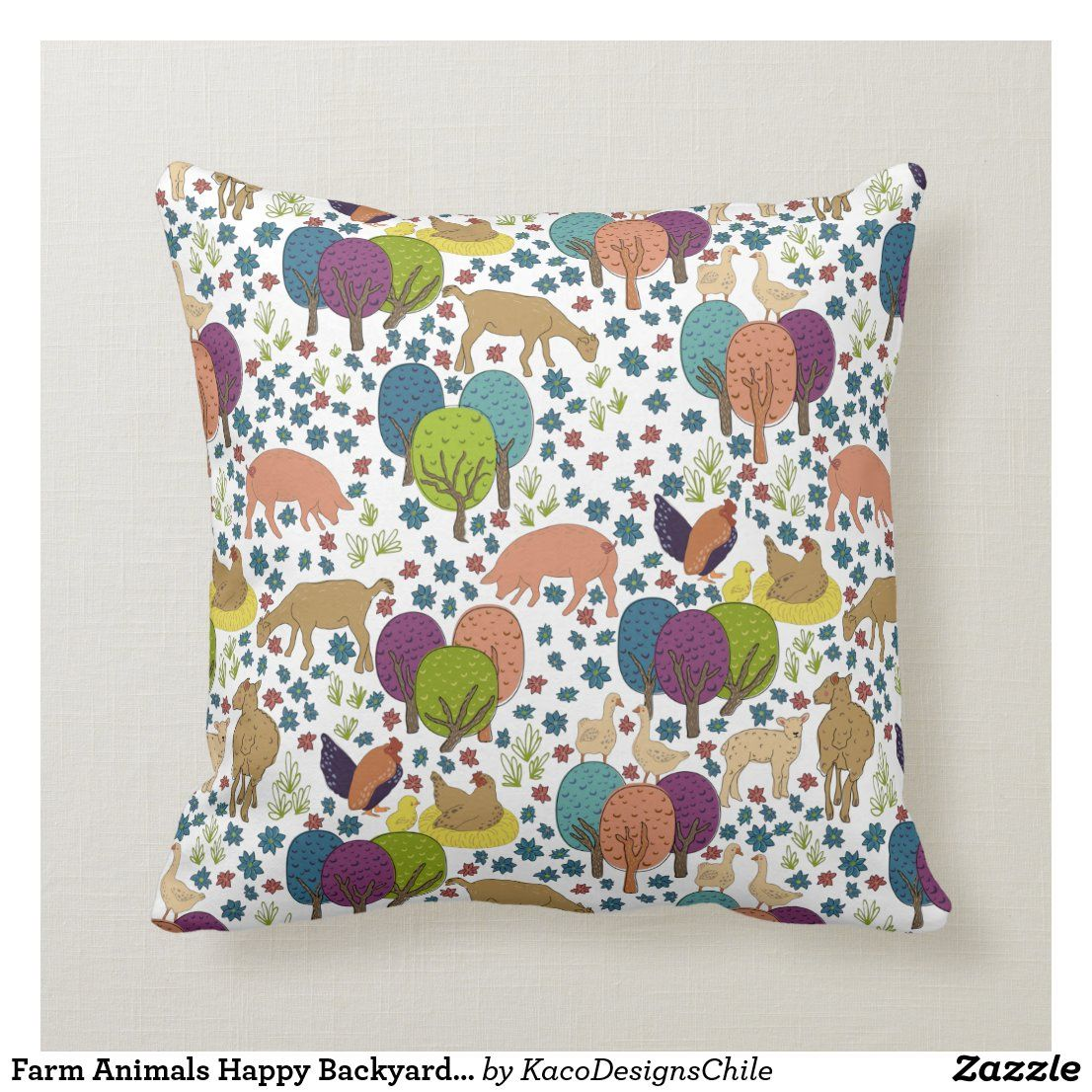 Farm Animals Happy Backyard Family Throw Pillow