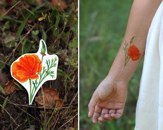 California Poppy: Two Temporary Tattoos   Etsy   Poppies ...